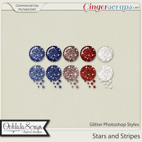 Stars and Stripes CU Glitter Photoshop Styles