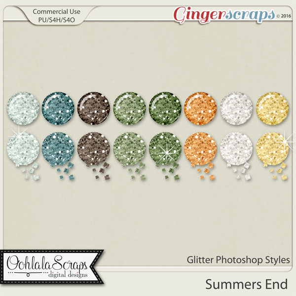 Summers End Glitter CU Photoshop Styles