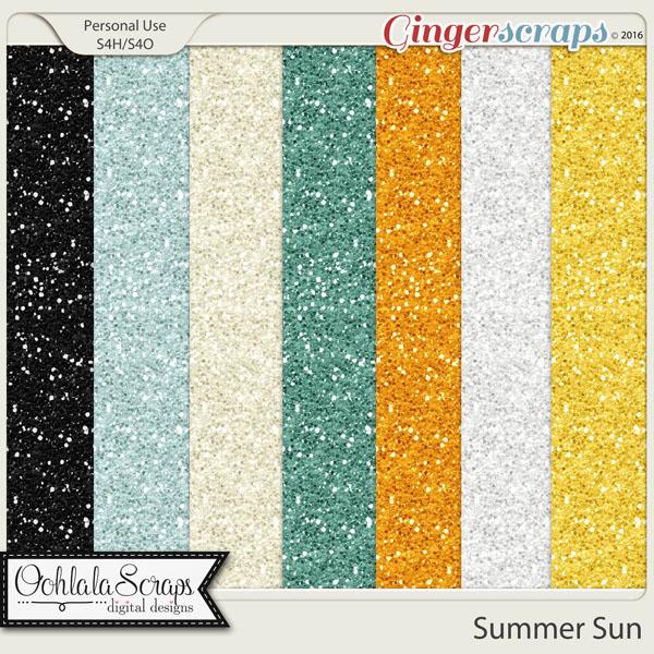 Summer Sun 12x12 Glitter Papers