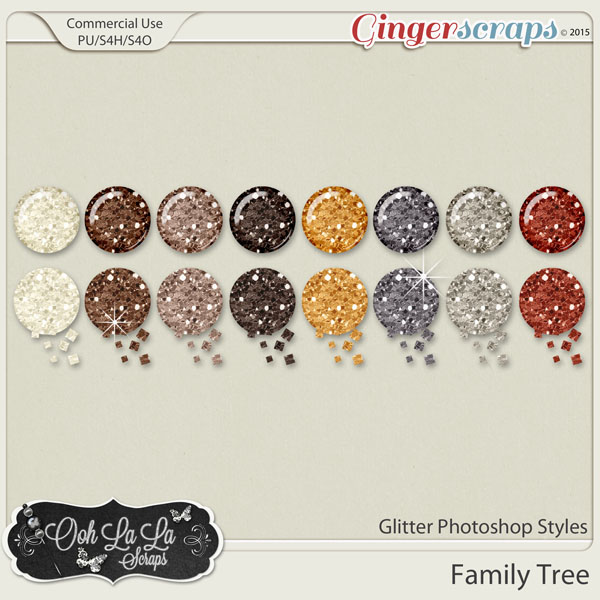 Family Tree Glitter Photoshop Styles