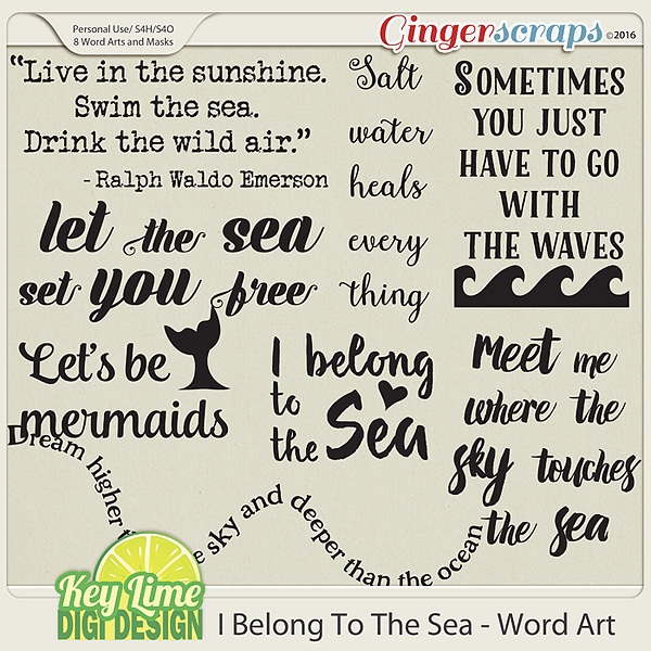 I Belong to the Sea - Word Art