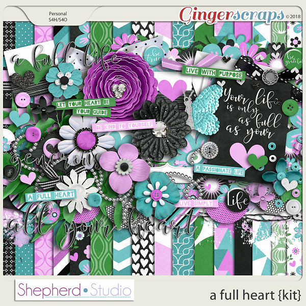 A Full Heart Digital Scrapbooking Kit by Shepherd Studio