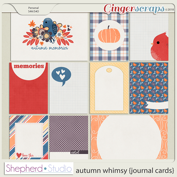 Autumn Whimsy Journal Cards for Pocket Scrapbooking by Shepherd Studio