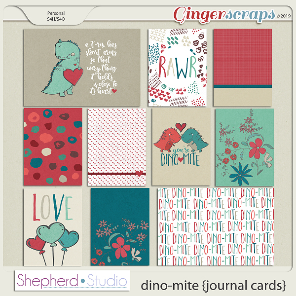 Dino-Mite Journal Cards for Pocket Scrapbooking by Shepherd Studio