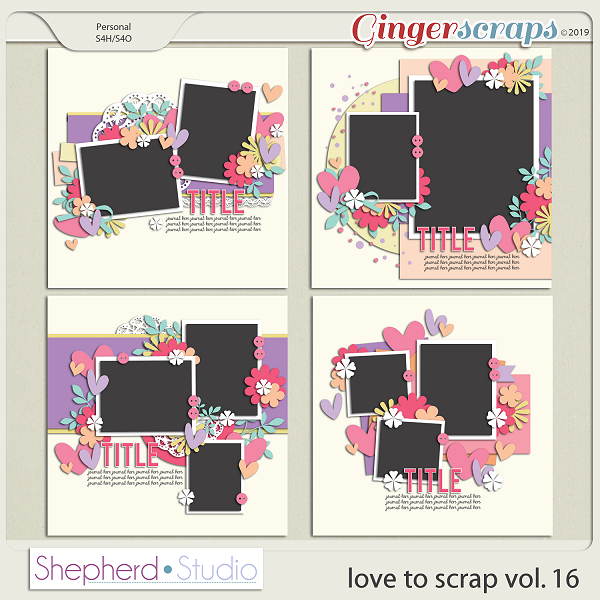 Love to Scrap Volume 16 Templates by Shepherd Studio