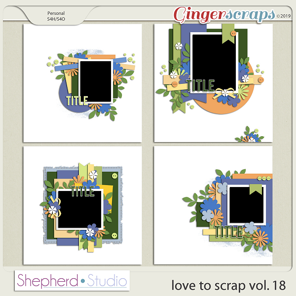 Love to Scrap Volume 18 Templates by Shepherd Studio