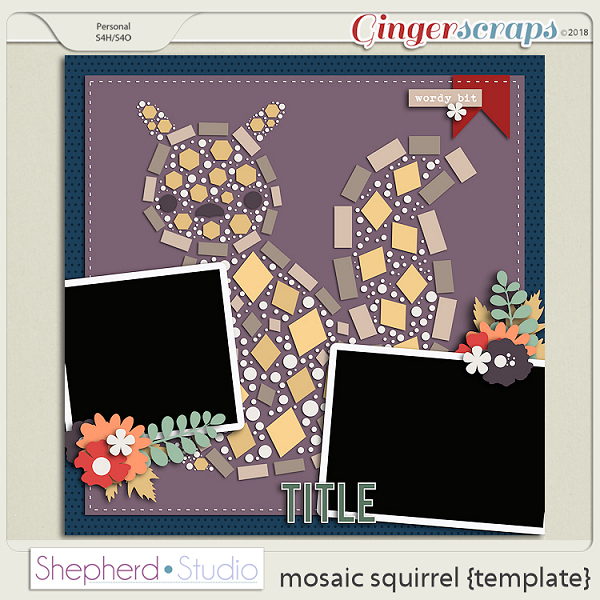 Mosaic Squirrel Template by Shepherd Studio
