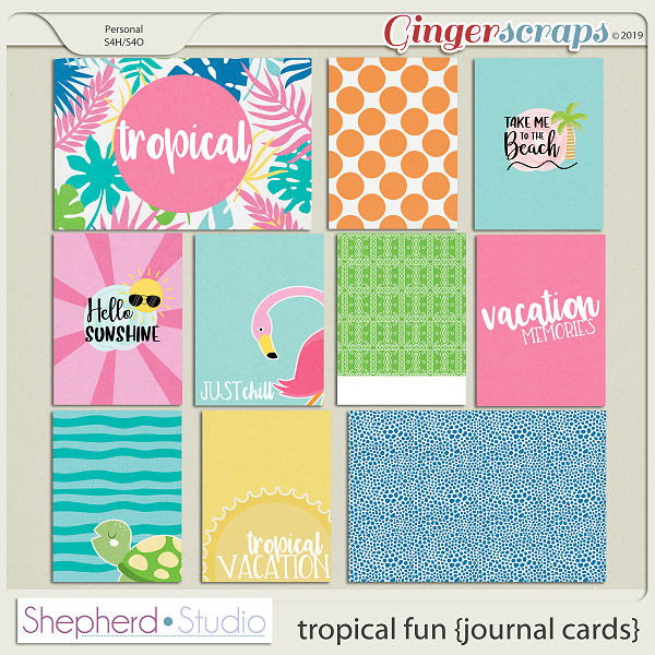 Tropical Fun Journal Cards for Pocket Scrapbooking by Shepherd Studio