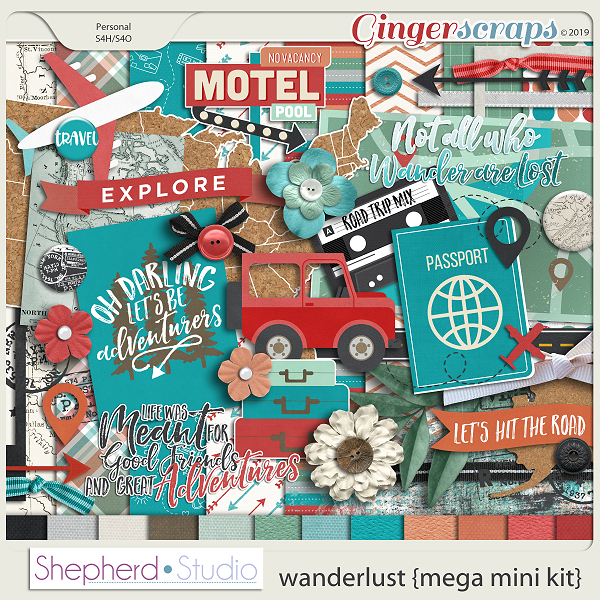Wanderlust Mini Digital Scrapbooking Kit by Shepherd Studio