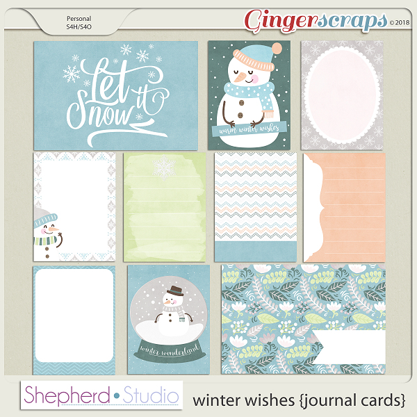 Winter Wishes Journal Cards for Pocket Scrapbooking by Shepherd Studio