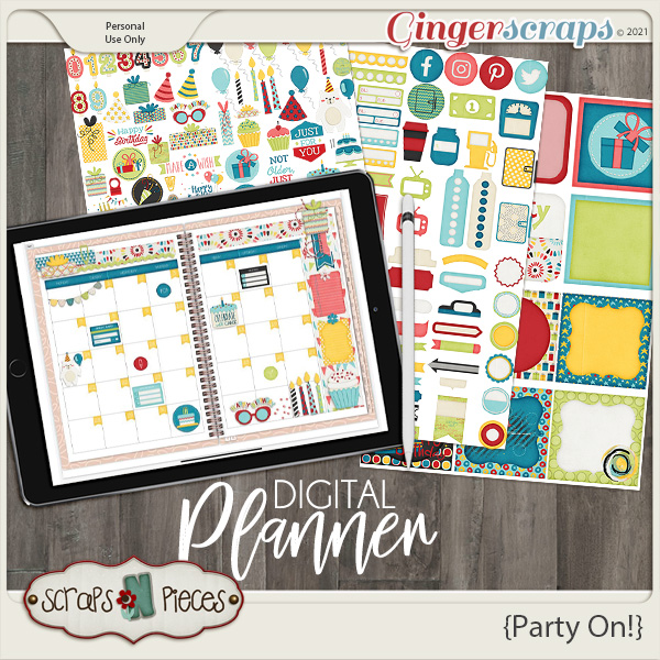 Party On Planner Pieces - Scraps N Pieces