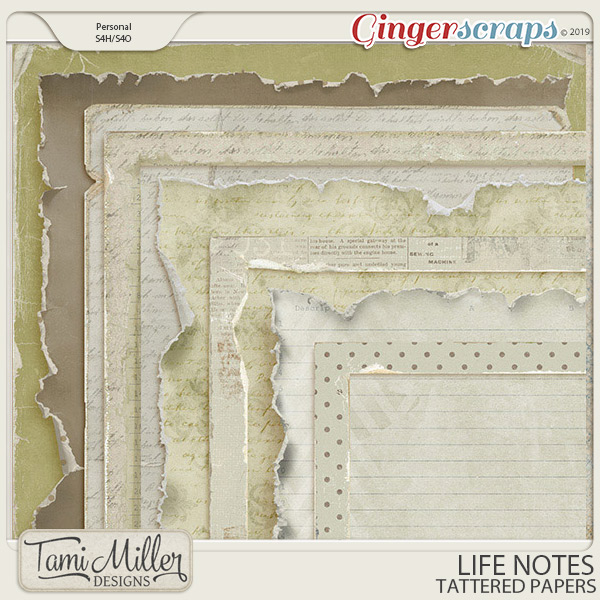 Life Notes Tattered Papers by Tami Miller Designs