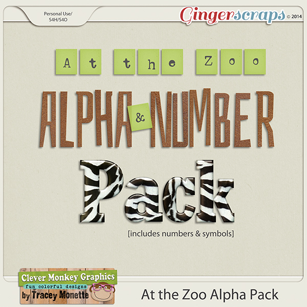 At the Zoo Alpha Pack by Clever Monkey Graphics
