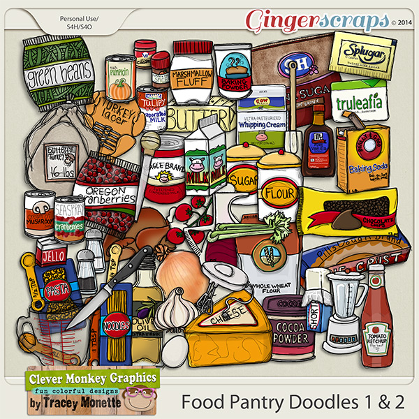 Food Pantry Doodles 1 & 2 by Clever Monkey Graphics