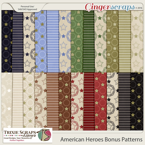 American Heroes Bonus Papers by Trixie Scraps Designs