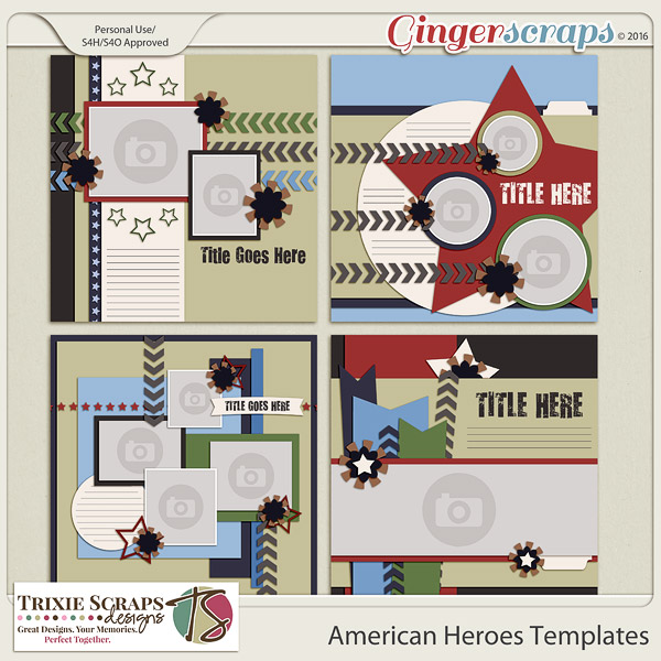 American Heroes Templates by Trixie Scraps Designs