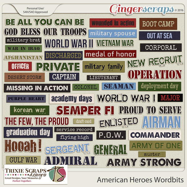 American Heroes Wordbits by Trixie Scraps Designs