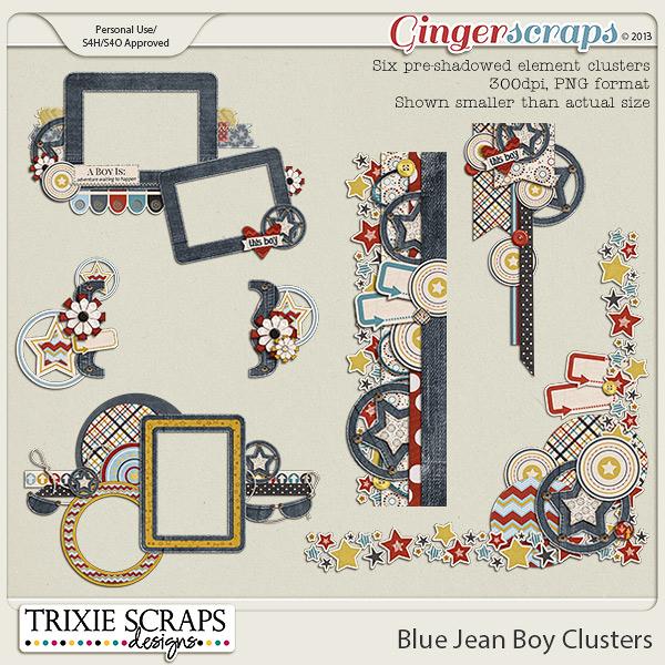 Blue Jean Boy Clusters by Trixie Scraps Designs