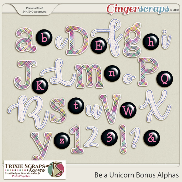 Be a Unicorn Bonus Alphas by Trixie Scraps Designs