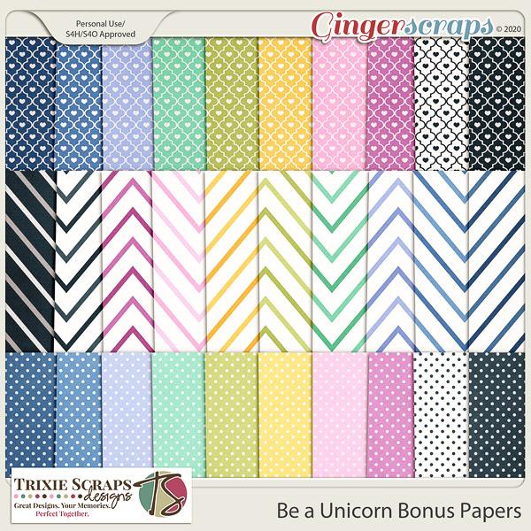 Be a Unicorn Bonus Papers by Trixie Scraps Designs