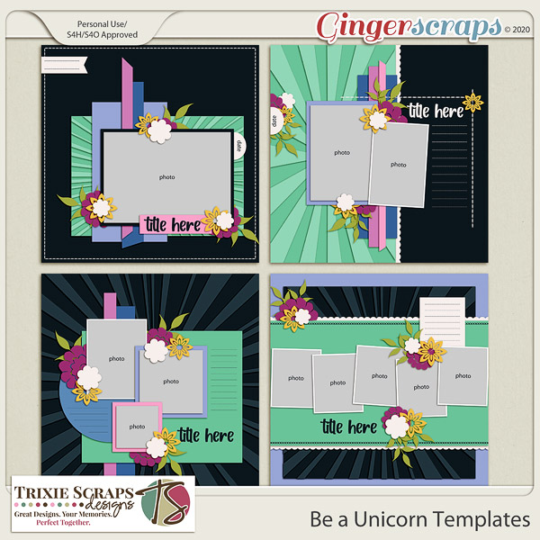 Be a Unicorn Template Pack by Trixie Scraps Designs