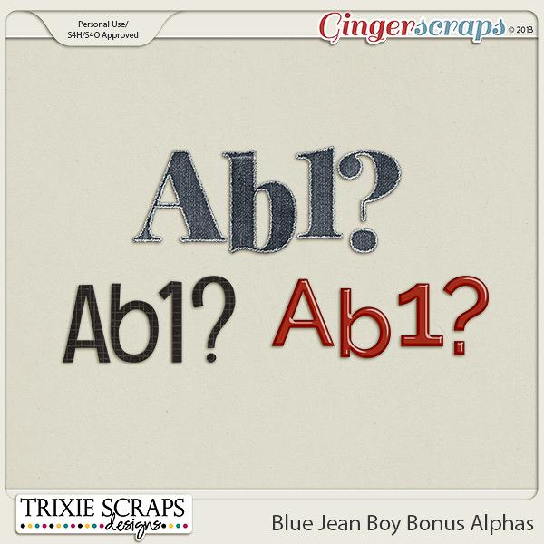 Blue Jean Boy Bonus Alphas by Trixie Scraps Designs