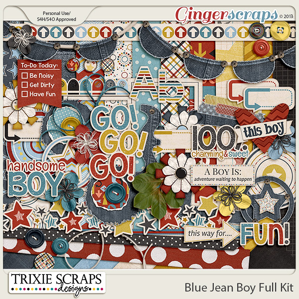 Blue Jean Boy Full Kit by Trixie Scraps Designs