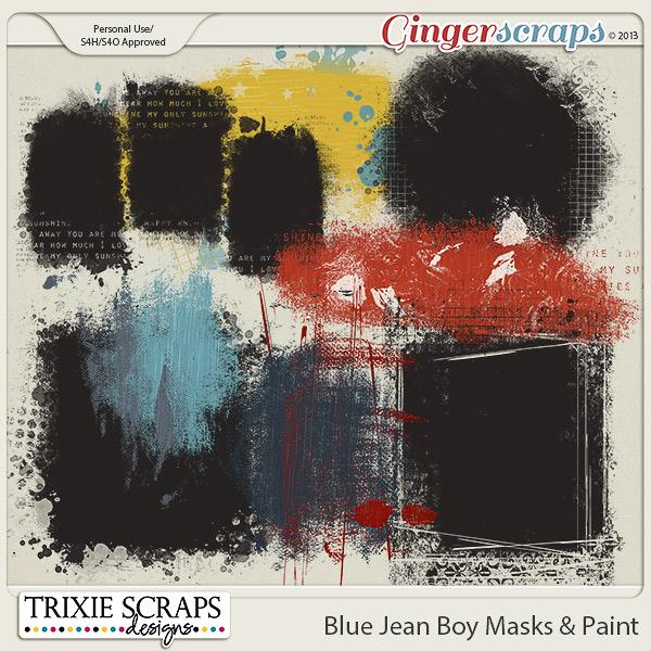 Blue Jean Boy Masks & Paint by Trixie Scraps Designs