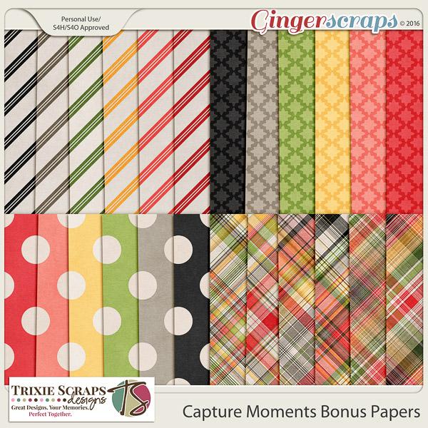 Capture Moments Bonus Papers by Trixie Scraps Designs