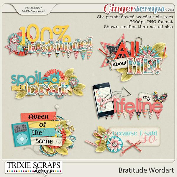 Bratitude Wordart by Trixie Scraps Designs