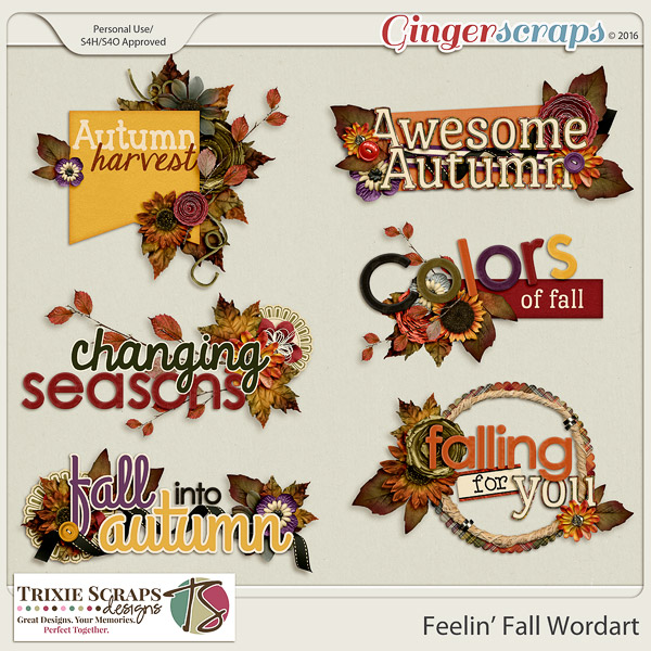 Feelin' Fall Wordart by Trixie Scraps Designs