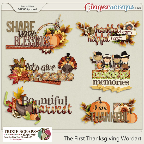 The First Thanksgiving Wordart by Trixie Scraps Designs