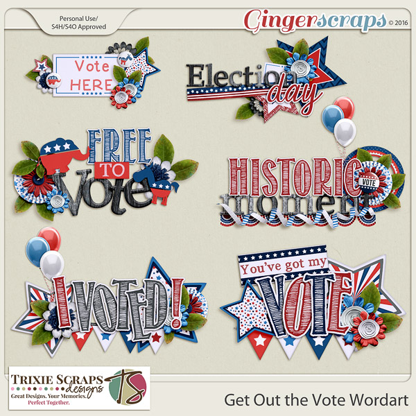 Get Out the Vote Wordart by Trixie Scraps Designs