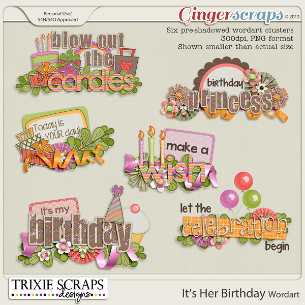 It's Her Birthday Wordart by Trixie Scraps Designs