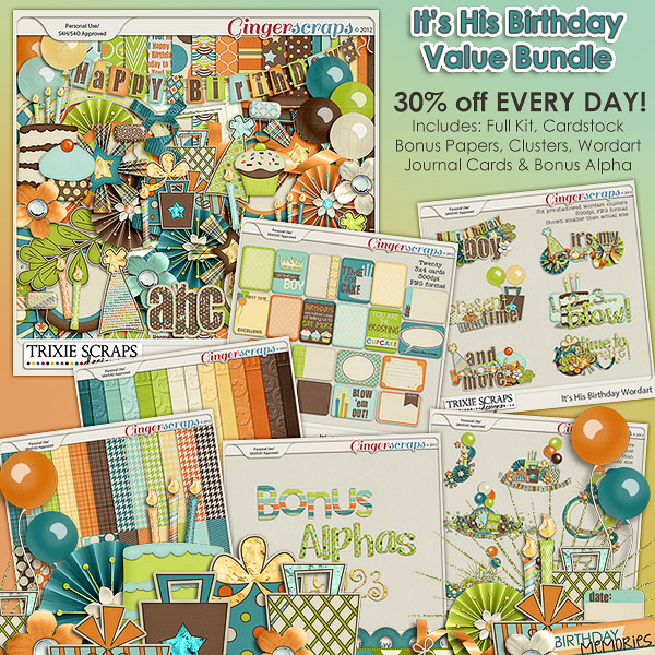 It's His Birthday Value Bundle by Trixie Scraps Designs
