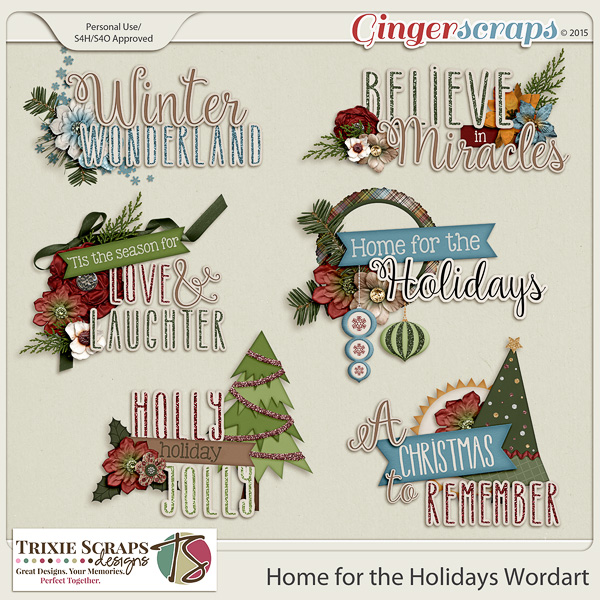 Home for the Holidays Wordart by Trixie Scraps Designs