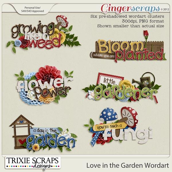 Love in the Garden Wordart by Trixie Scraps Designs