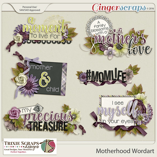 Motherhood Wordart by Trixie Scraps Designs