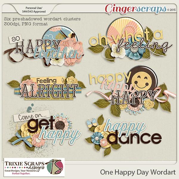 One Happy Day Wordart by Trixie Scraps Designs