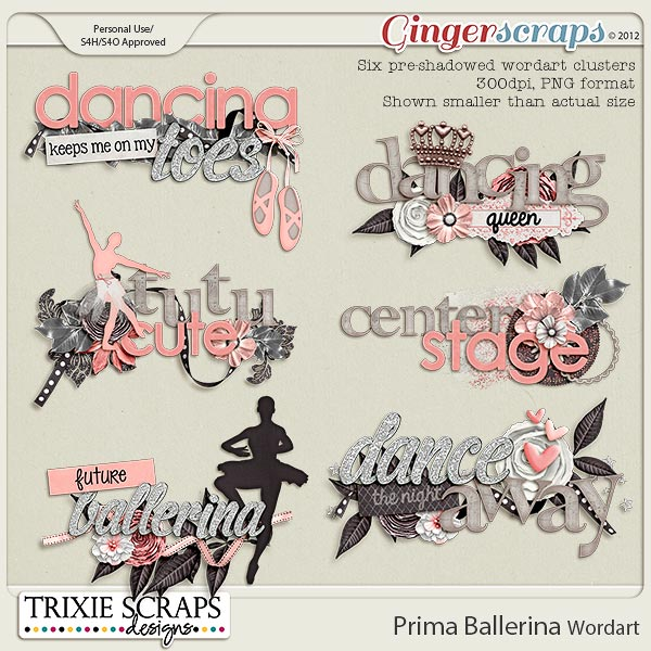 Prima Ballerina Wordart by Trixie Scraps Designs