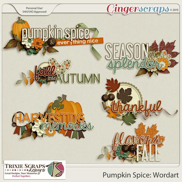 Pumpkin Spice Wordart by Trixie Scraps Designs