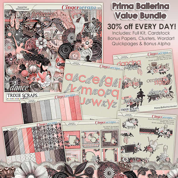 Prima Ballerina Value Bundle by Trixie Scraps Designs