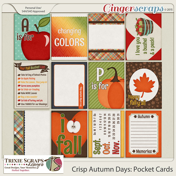 Crisp Autumn Days Pocket Cards by Trixie Scraps Designs