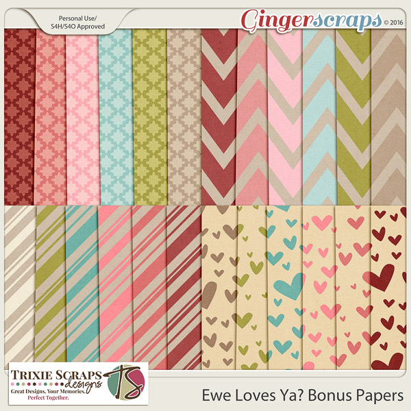 Ewe Loves Ya? Bonus Papers by Trixie Scraps Designs