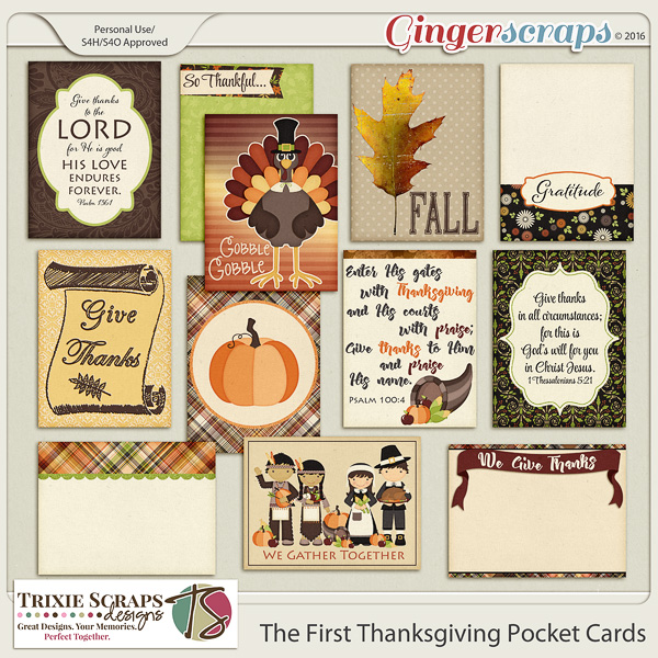 The First Thanksgiving Pocket Cards by Trixie Scraps Designs