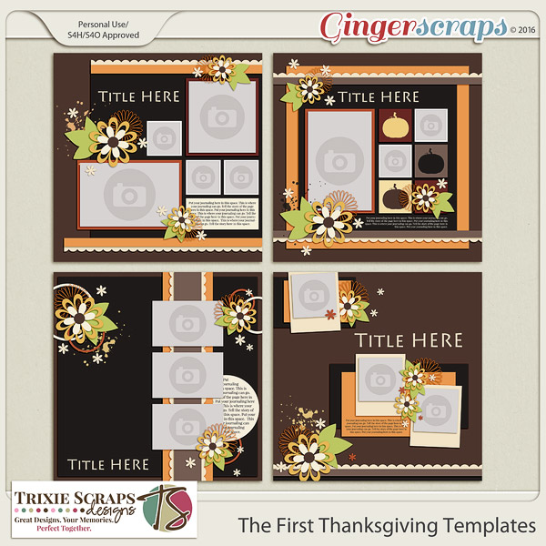 The First Thanksgiving Templates by Trixie Scraps Designs