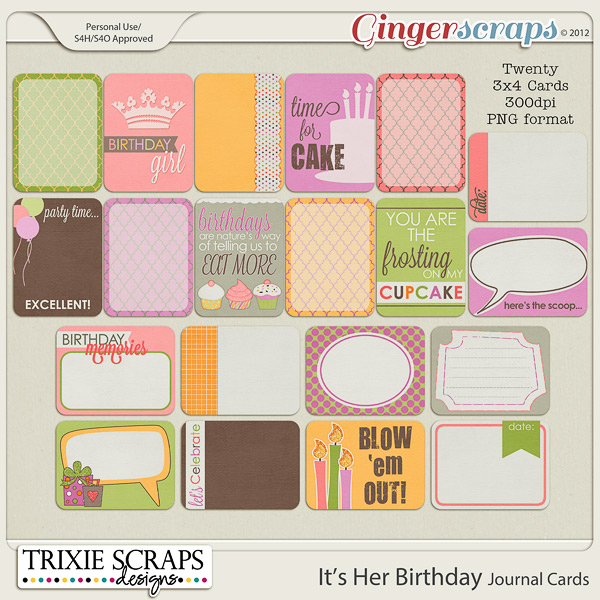 It's Her Birthday Journal Cards by Trixie Scraps Designs