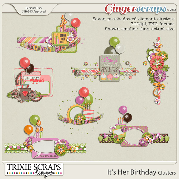 It's Her Birthday Clusters by Trixie Scraps Designs