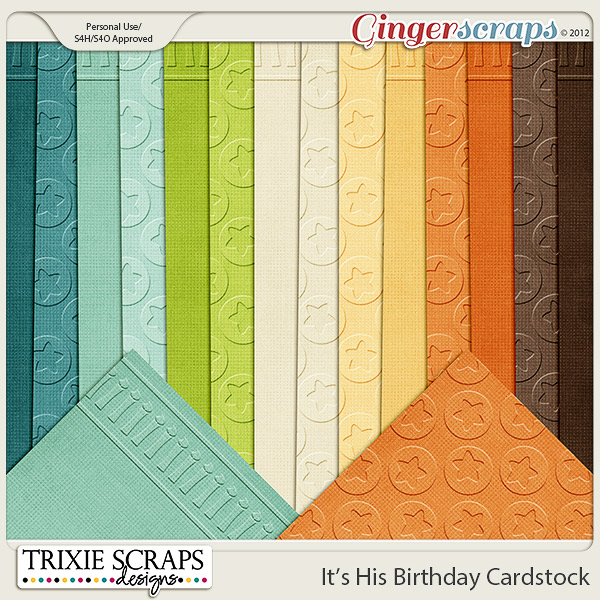 It's His Birthday Cardstock by Trixie Scraps Designs