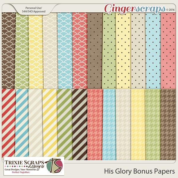 His Glory Bonus Papers by Trixie Scraps Designs